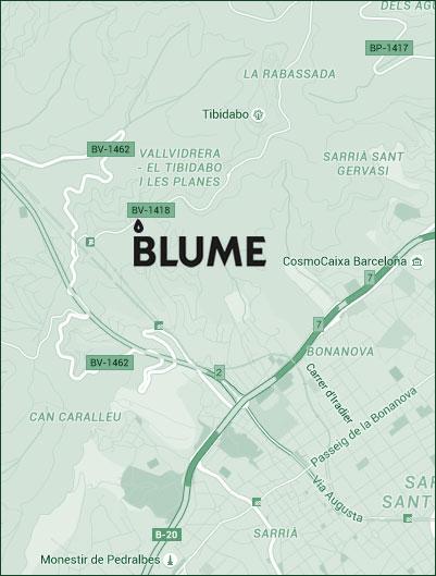Mapa de localización de las oficinas de Blume